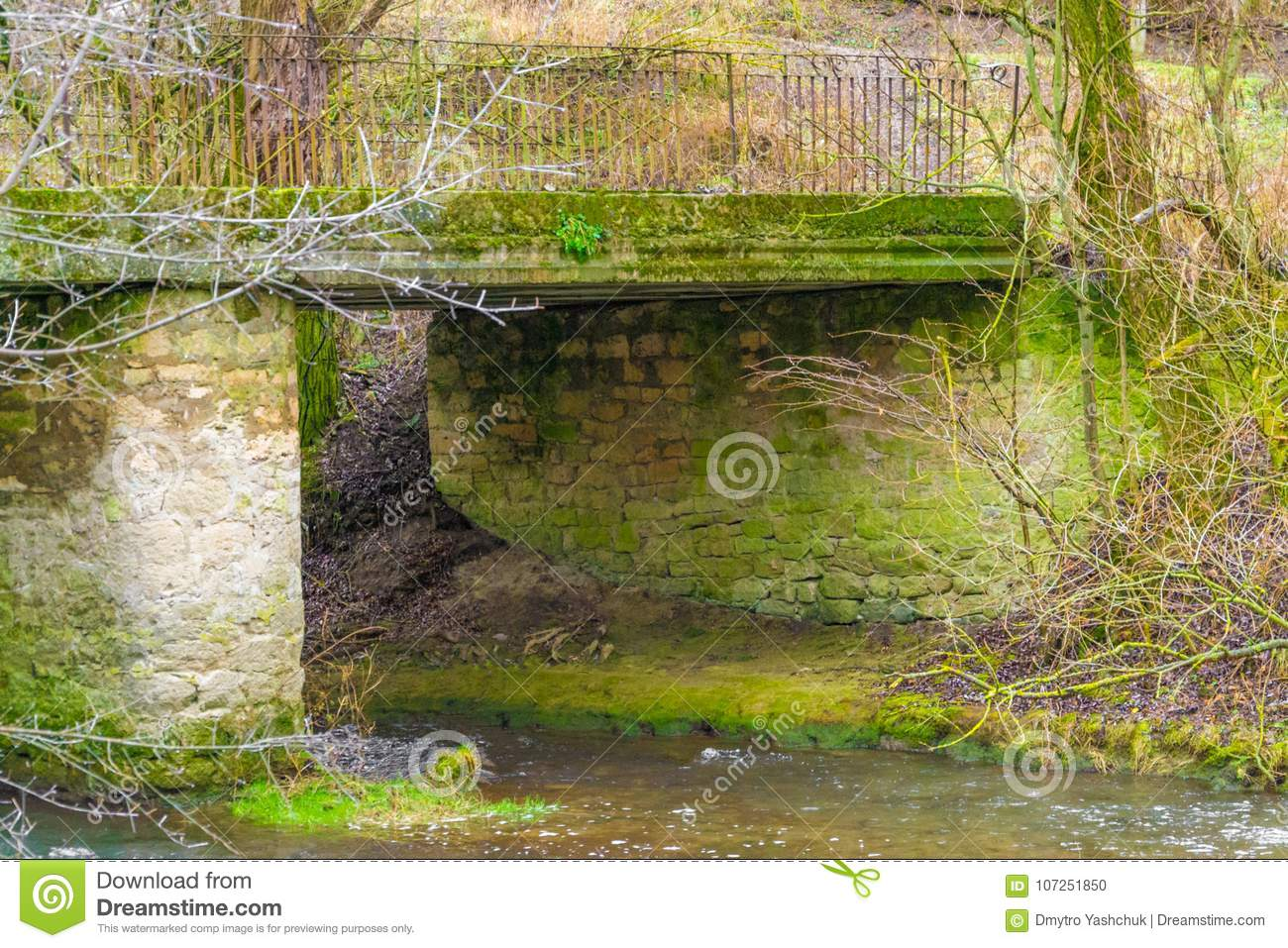 A riverside image of Hisley Bridge an old packhorse bridge over the river