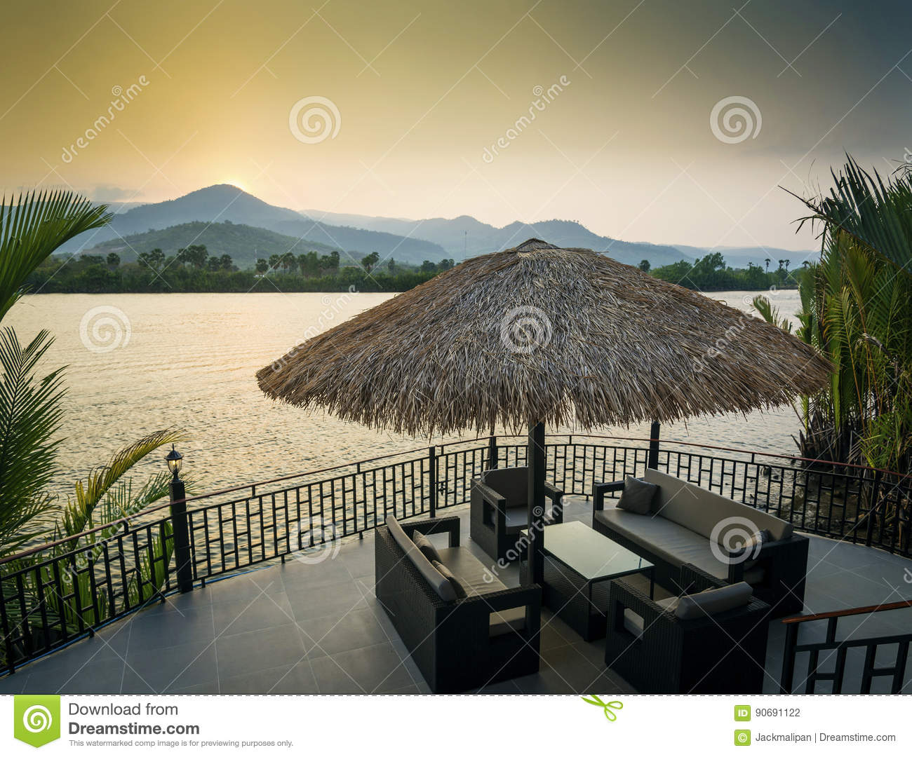 Download Riverside Sunset View In Kampot Cambodia Asia With Deck Sofas Stock Photo - Image of simple, river: 90691122