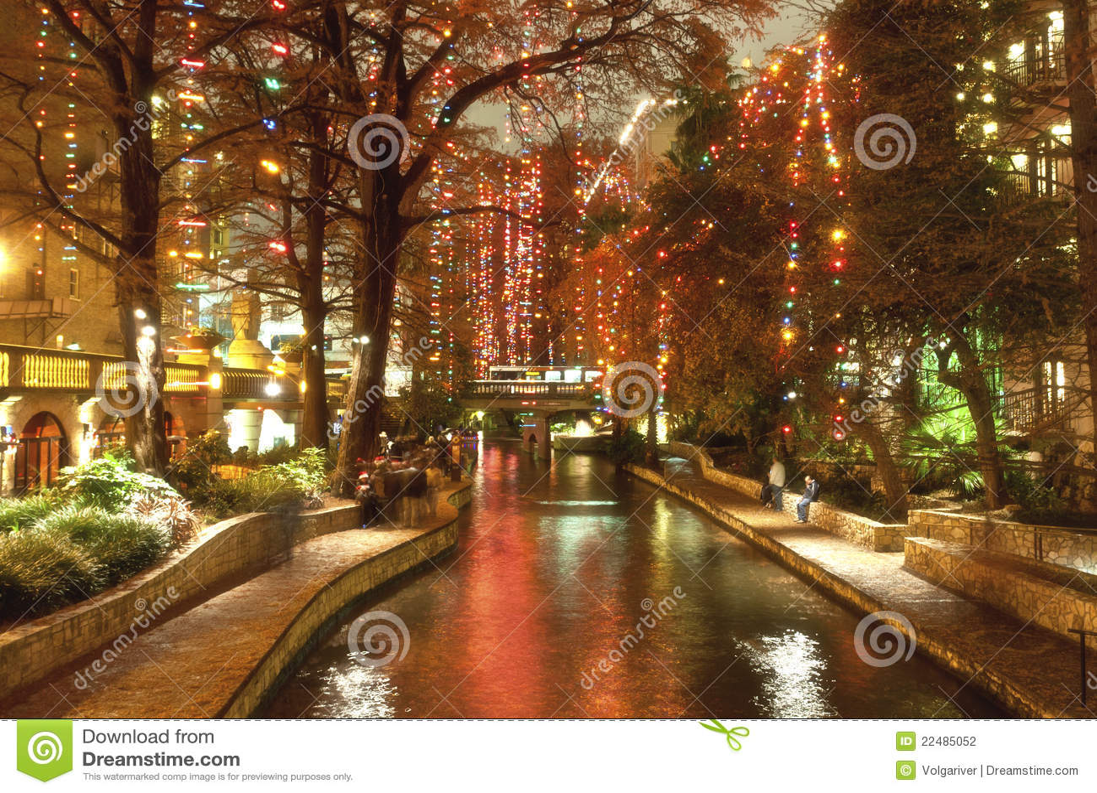 Riverwalk San Antonio Christmas.Riverwalk In San Antonio At Night At Holidays Stock Photo