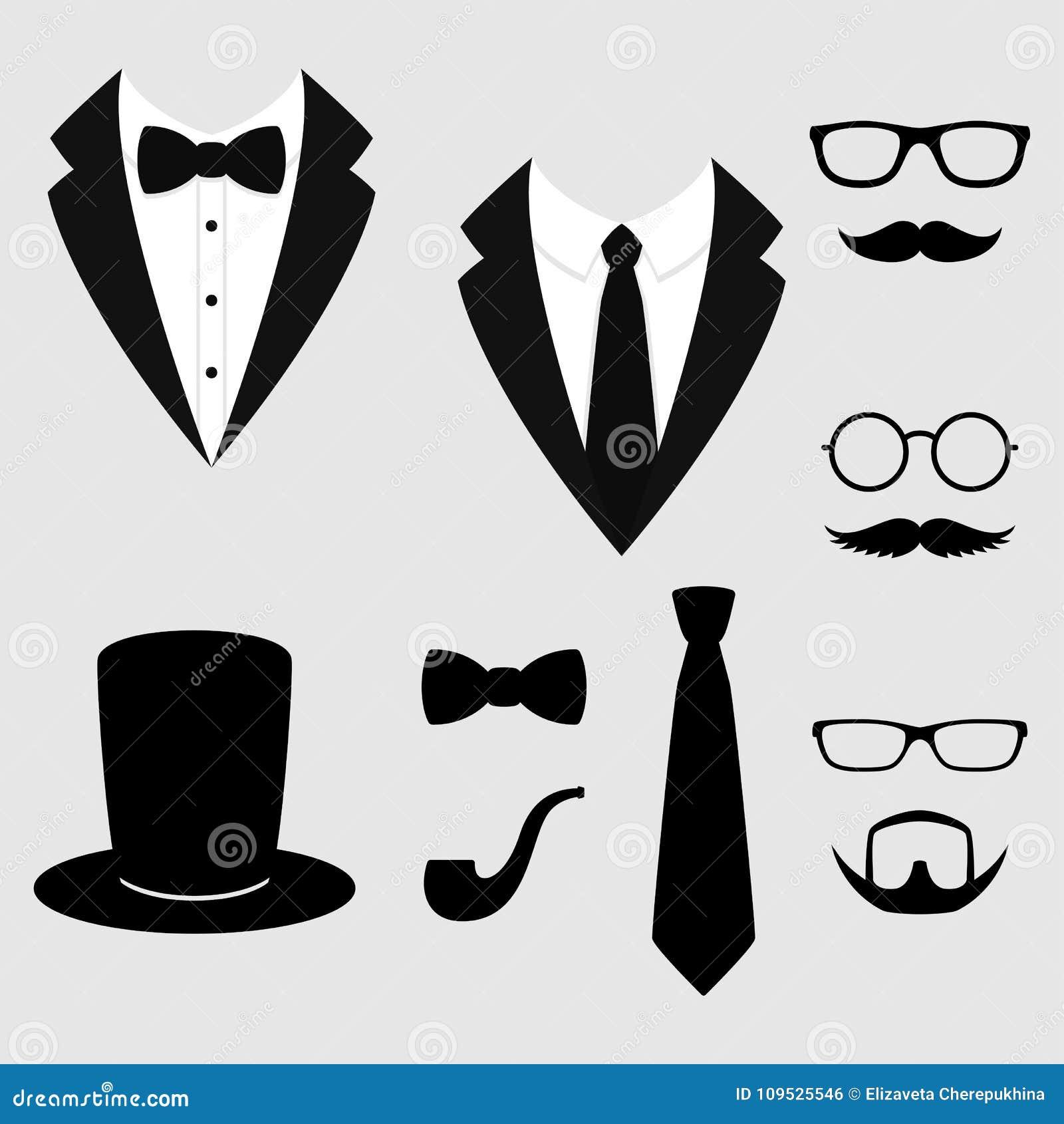 Rivestimenti del ` s degli uomini Smoking con i baffi, i vetri, la barba, il tubo ed il cilindro Vestiti di Weddind con il farfal