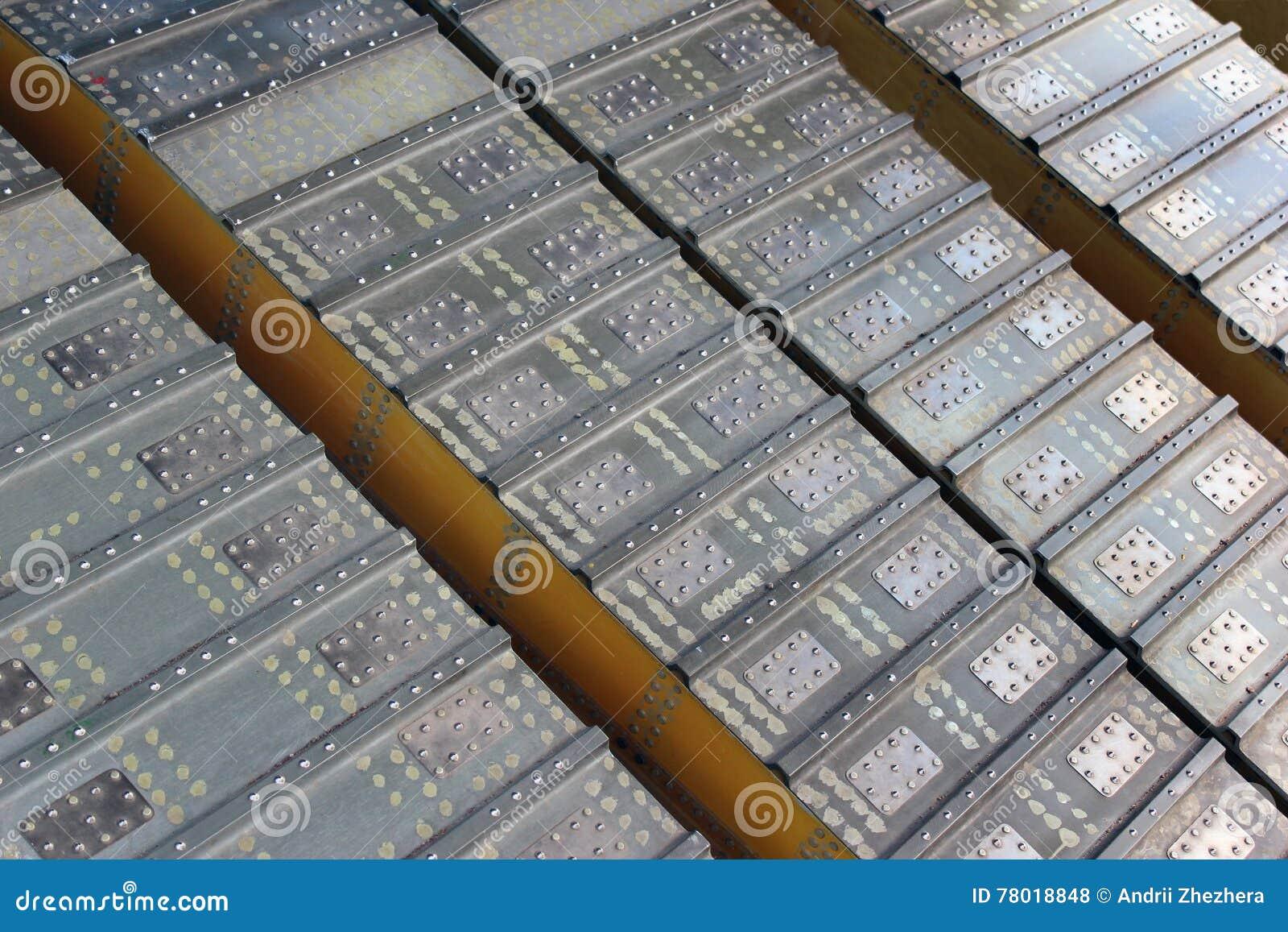 Riveted metal tread closeup