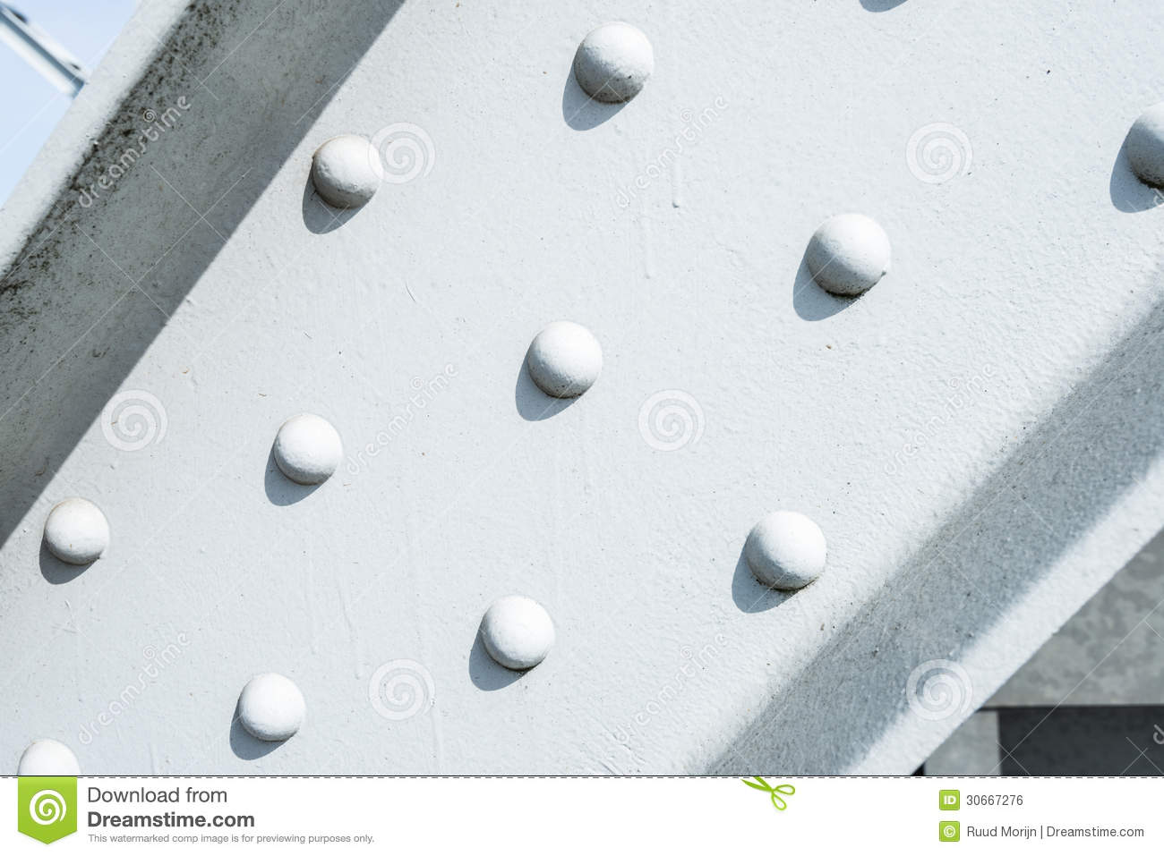 Rivets In A White Painted Steel Beam Stock Photo Image