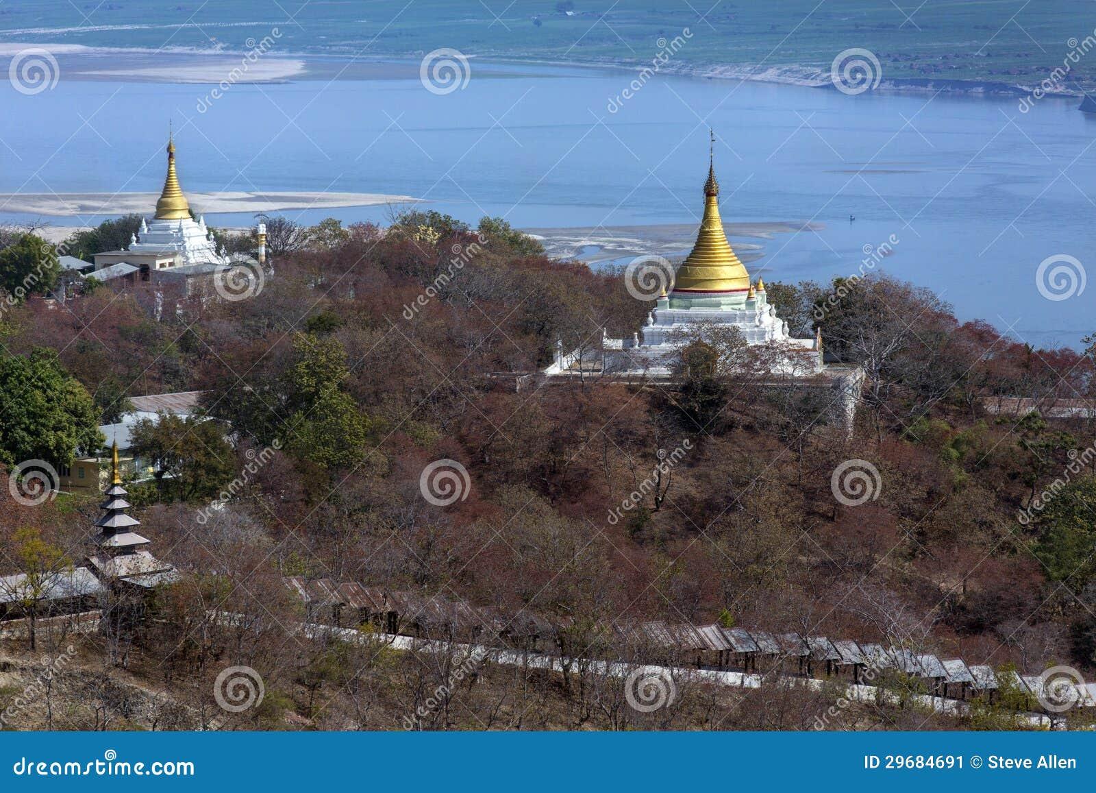 Rivière d Irrawaddy de colline de Sagaing - Myanmar