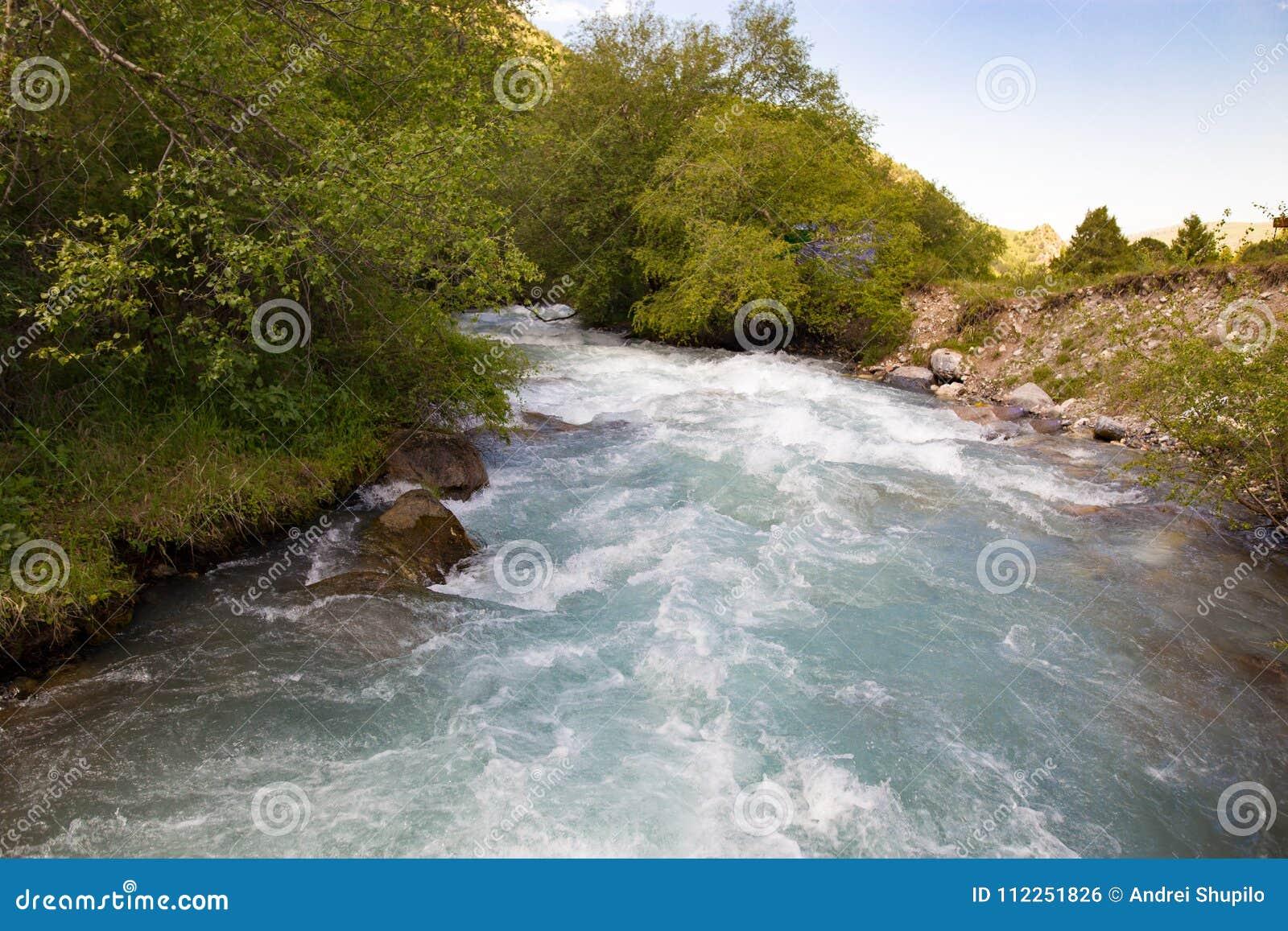 Rivière dans les montagnes de Tian Shan au printemps