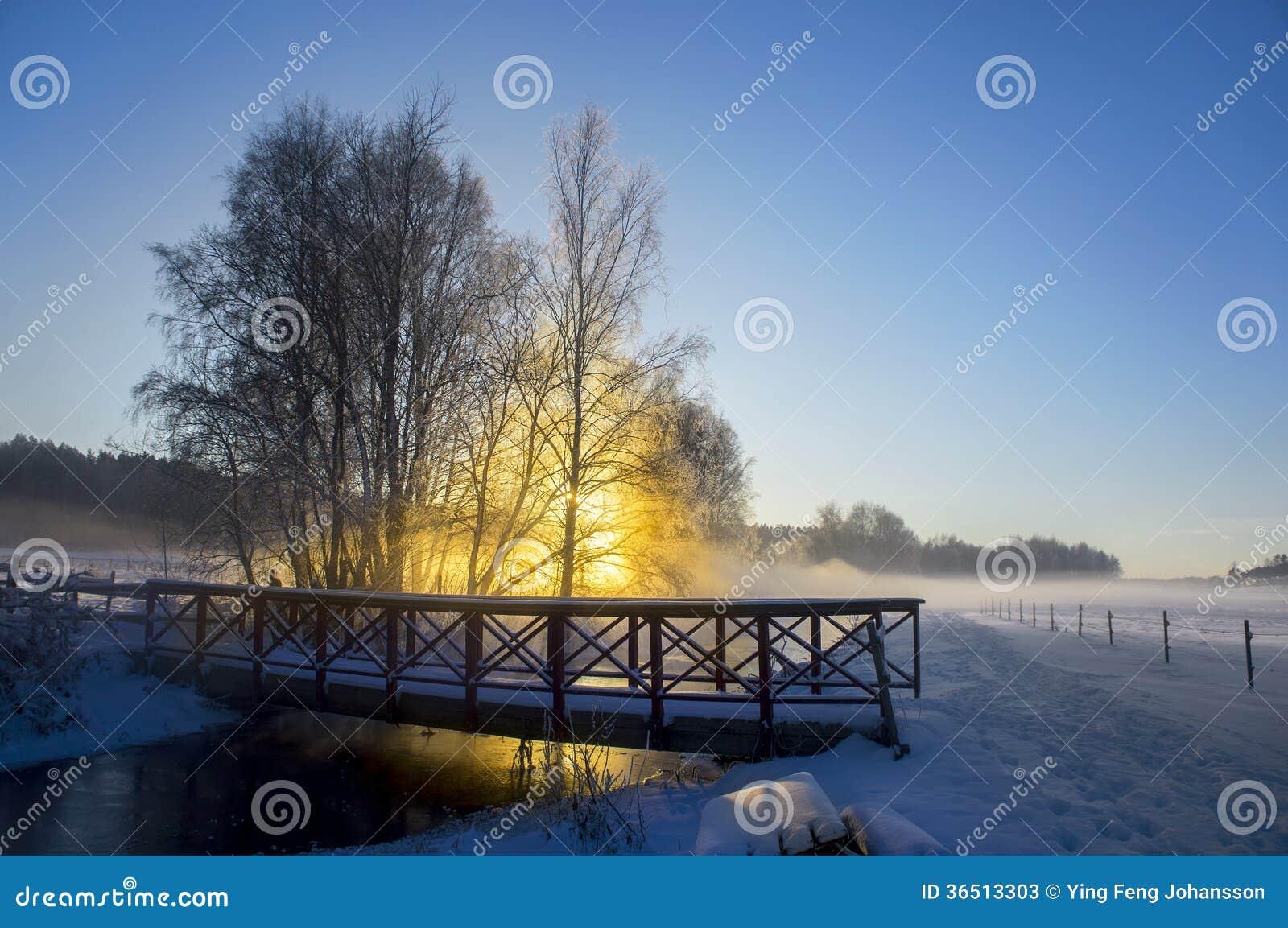 Rivière et pont le jour ensoleillé d hiver