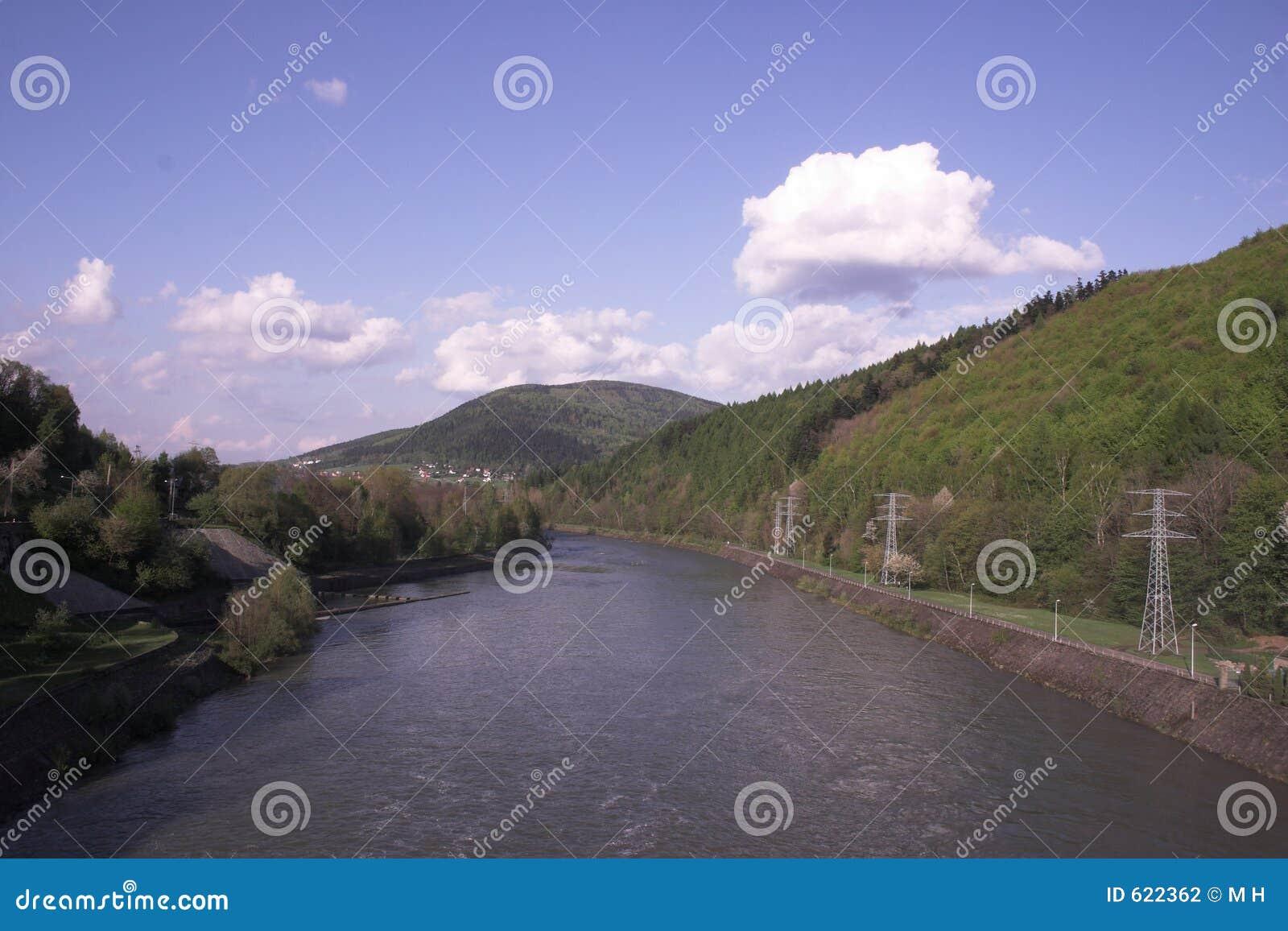 Rivier bij bergen