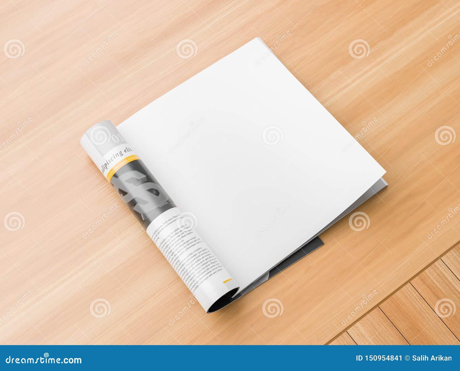 Rivista isolata e quadrata della pagina realistica e giusta o derisione del catalogo su su fondo di legno Pagina quadrata in bian