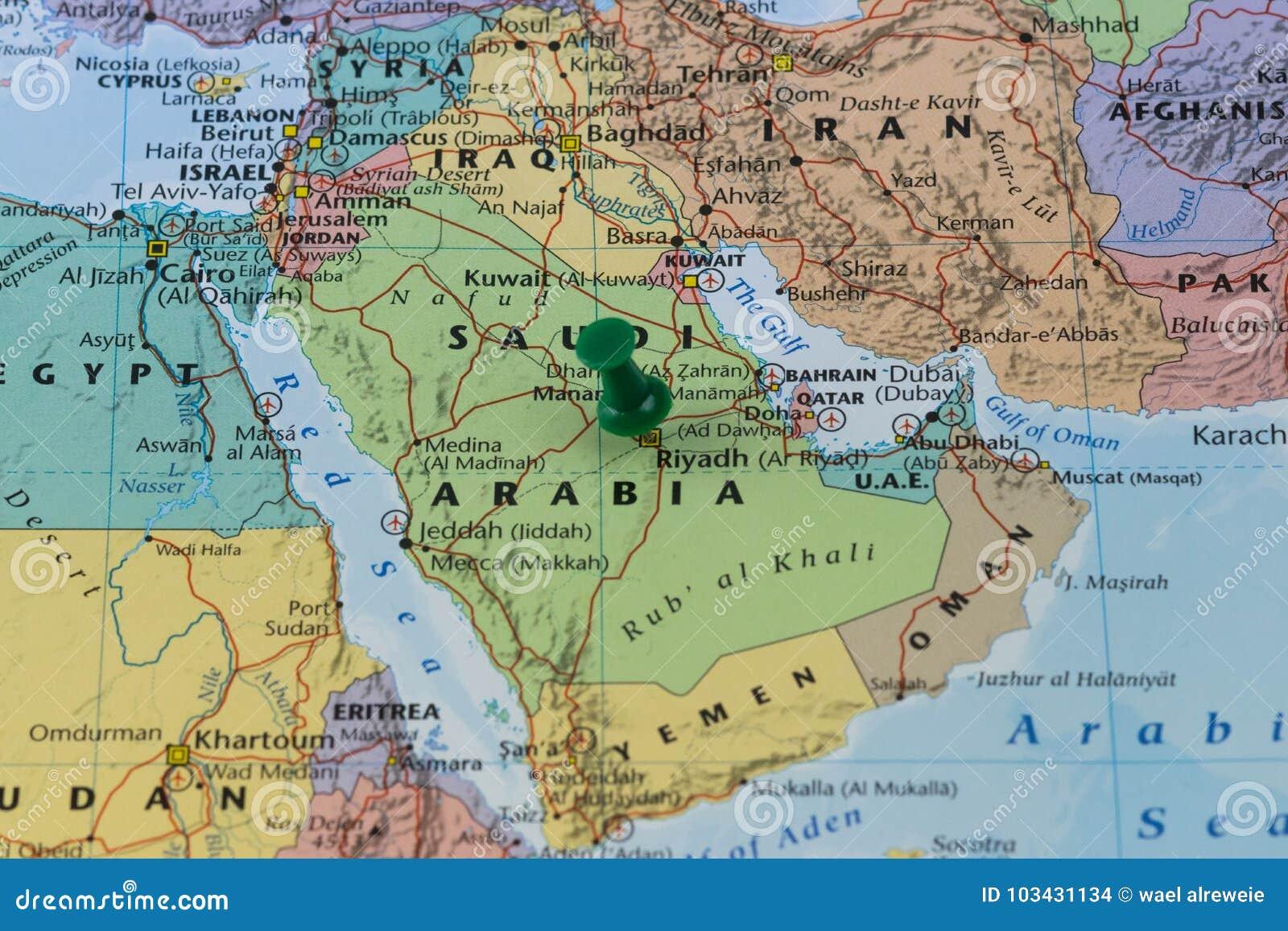 Riyadh Pinned On A Map Of Saudi Arabia With A Green Pin ... on middle east map, riyadh on a map, world landforms map, jerusalem map, riyadh street map, damascus map,