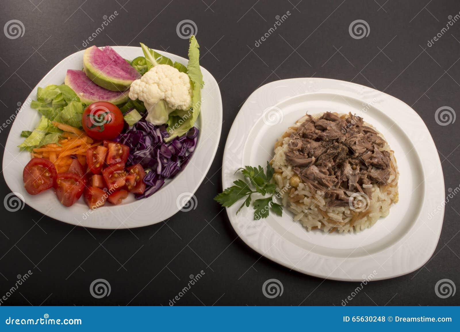 Riz et salades