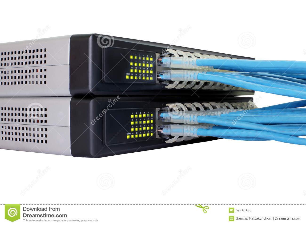 Rj45 Ethernet Cable Connected To Switch Stock Photo