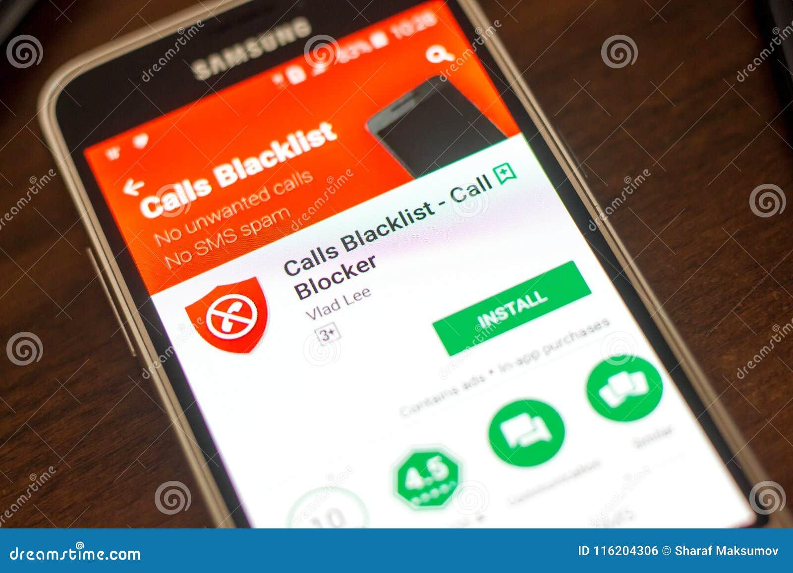 Rjazan , Russia - 4 maggio 2018: Le chiamate proscrivono il cellulare app sull esposizione del telefono cellulare