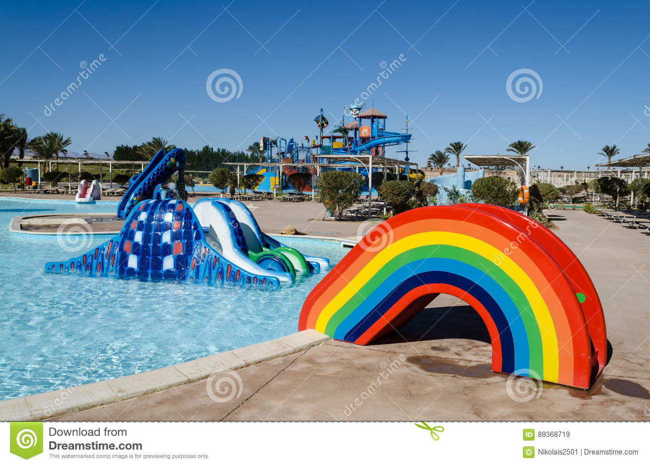 Water park, the hills for the youngest children in the form of a rainbow