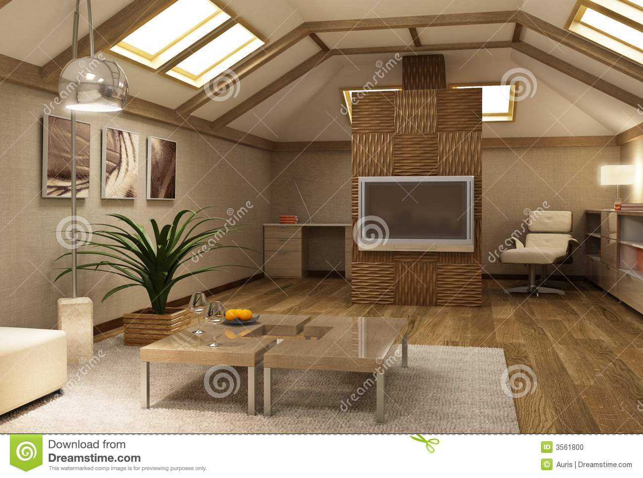 Rmodern Mezzanine Interior 3d Stock Photo Image Of