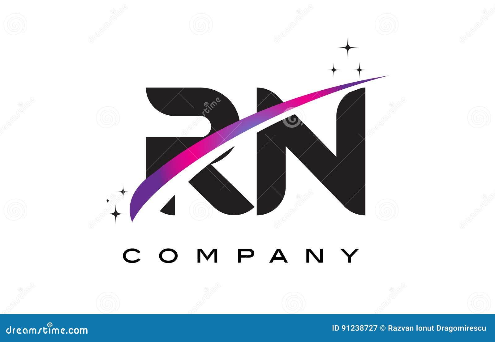 rn r n black letter logo design with purple magenta swoosh stock