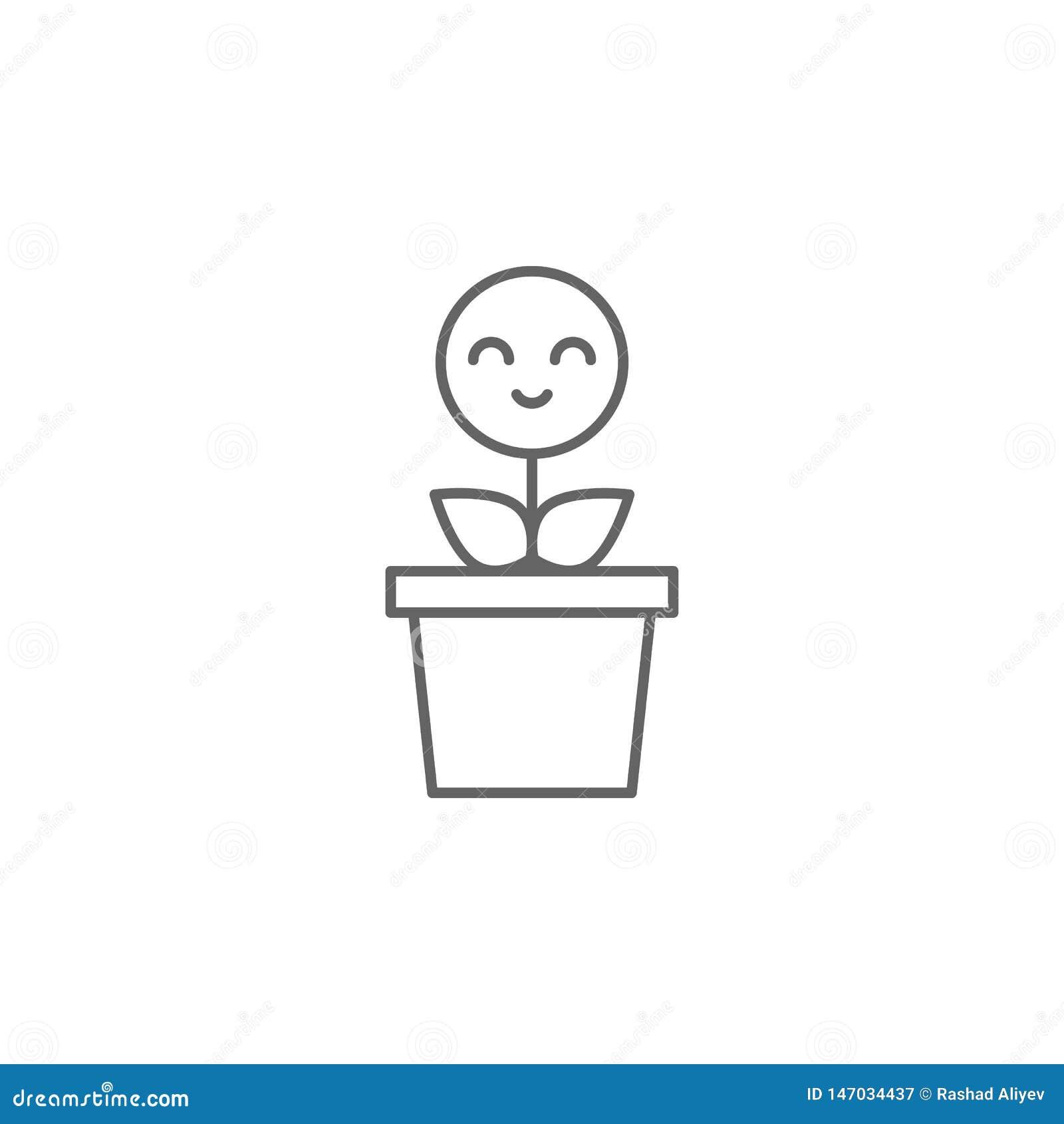 Roślina, uśmiech, kwiat ikona r Cienka kreskowa ikona dla strona internetowa projekta i rozwoju, app rozw?j premia