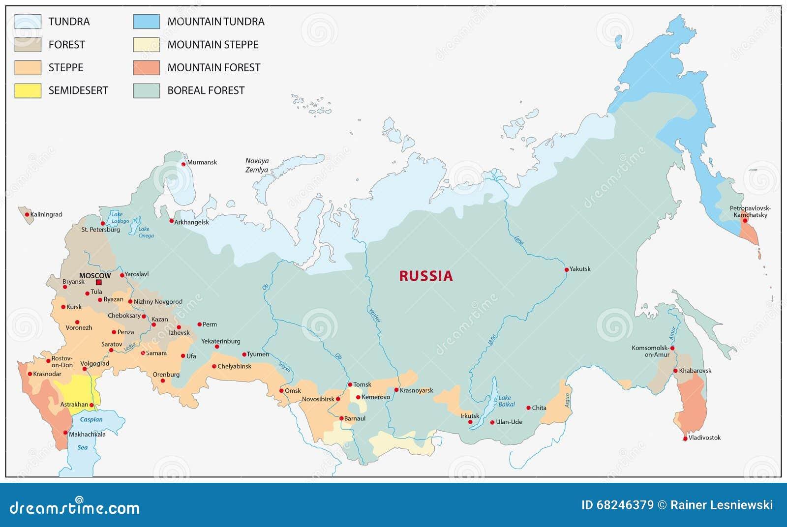 Roslinnosci Mapa Rosja Ilustracji Ilustracja Zlozonej Z Gatunki