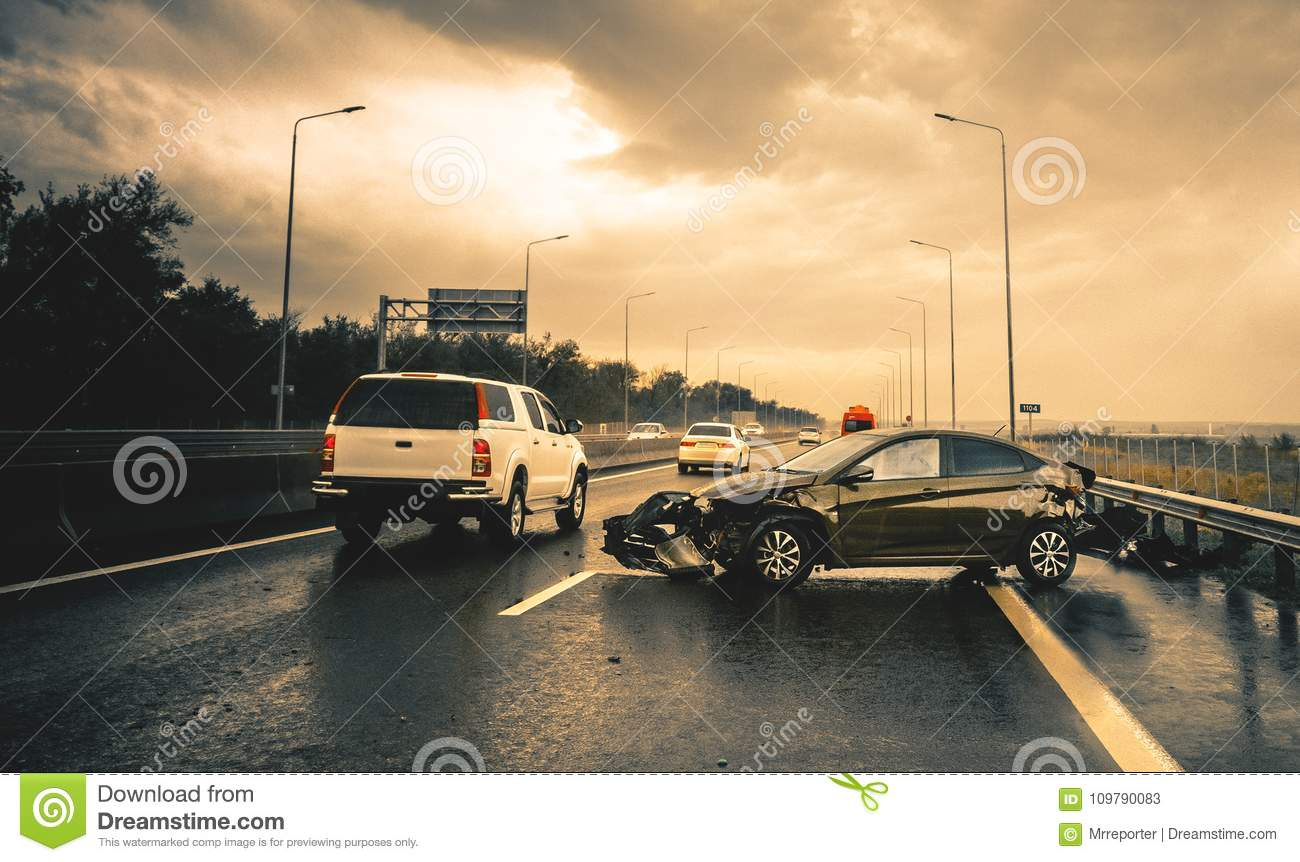 Road accident stock image  Image of freeway, broken - 109790083