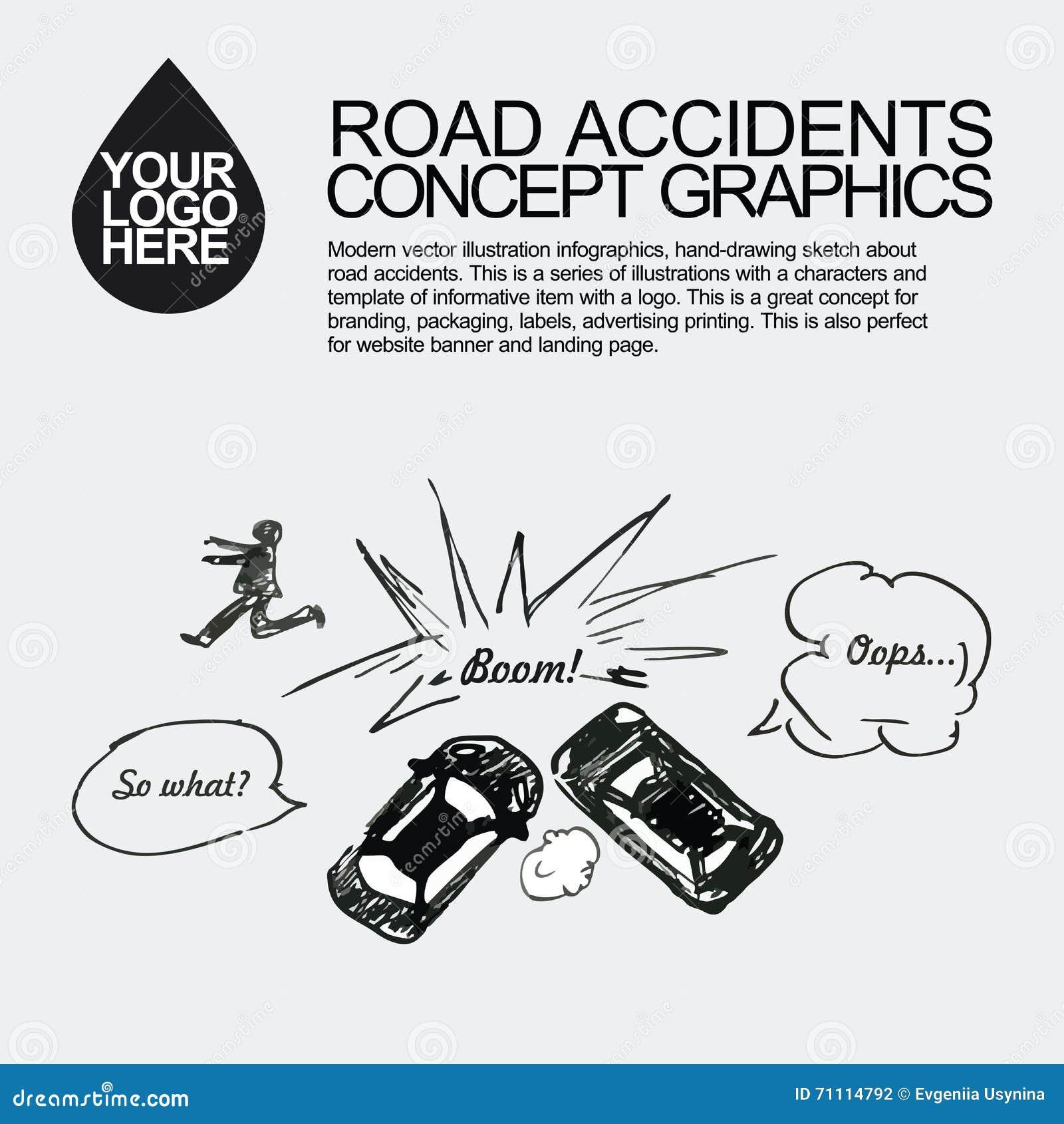 Road Accident. The Car Crashed Incident. Illustration 71114792 ...