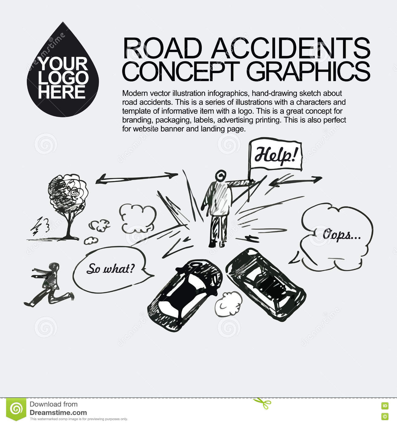 Road Accident. The Car Crashed Incident. Stock Illustration ...