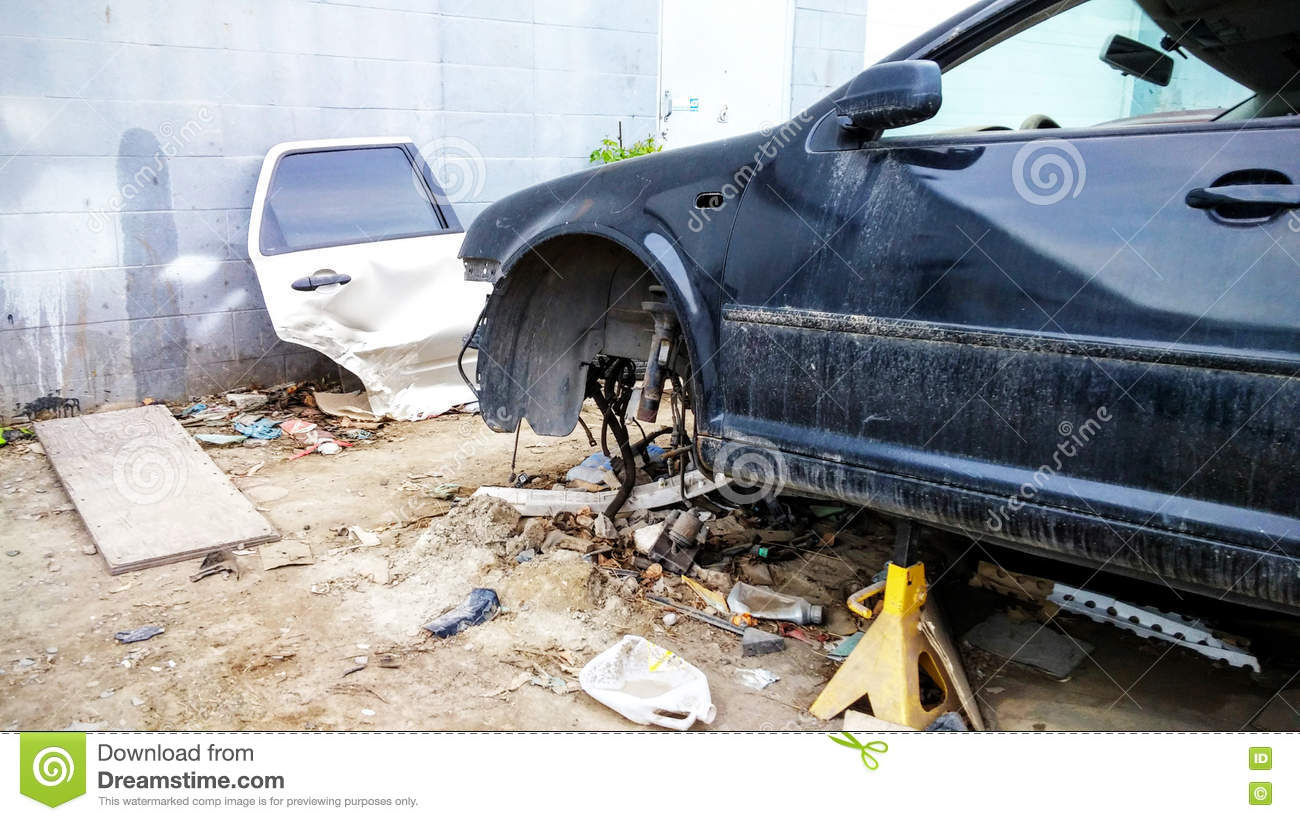 Road Accident Crash Damaged Car Or Wreck Broken Vehicle Stock Photo ...