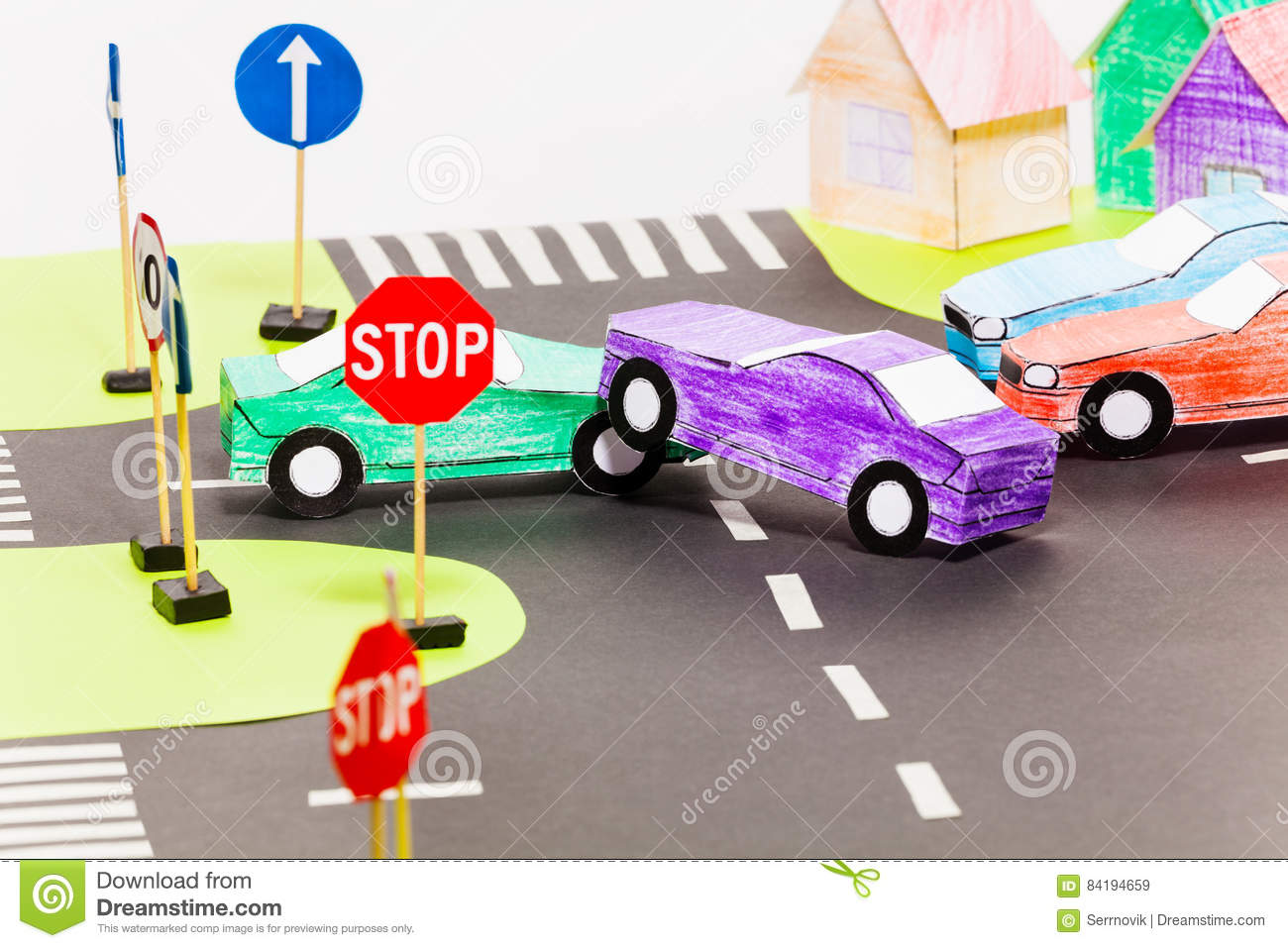 Road Accident On A Crossings At The Toy City Stock Image - Image of ...