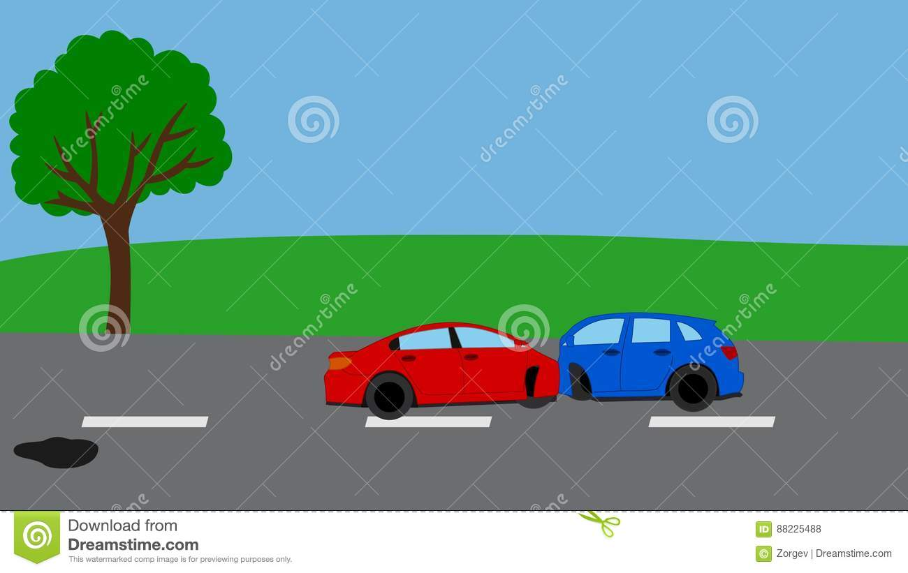 Road Accident With Puddle Of Oil, Several Background Stock Footage ...