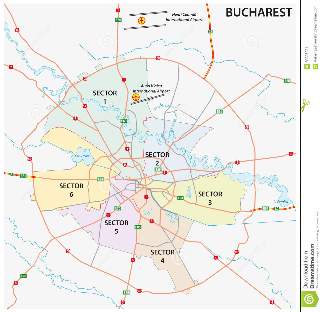 Road Administrative Map Of The Romanian Capital Bucharest ...