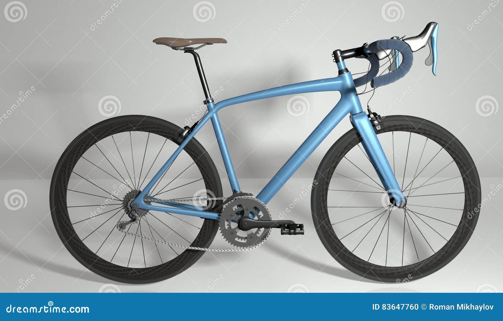 Road Bike Side View  3D Illustration Stock Illustration