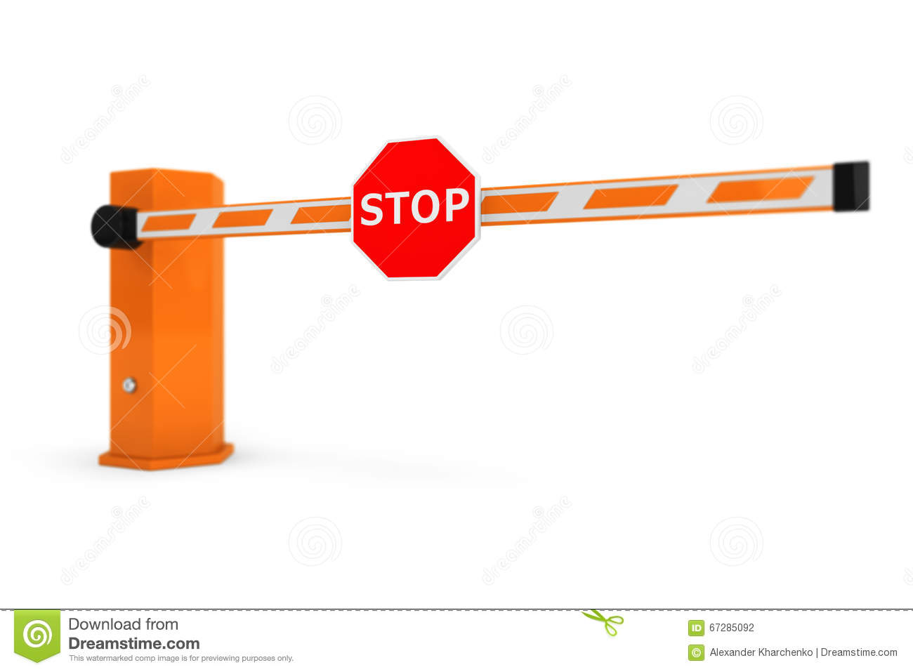 Road car barriers with stop sign stock illustration