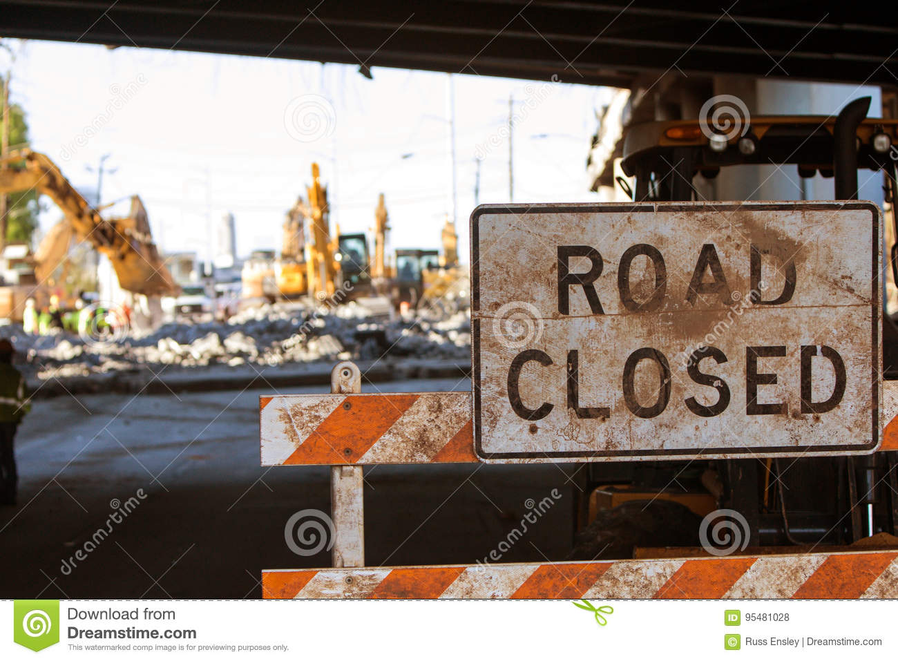 Road Closed Barricade Blocks Access To Major Interstate Construction