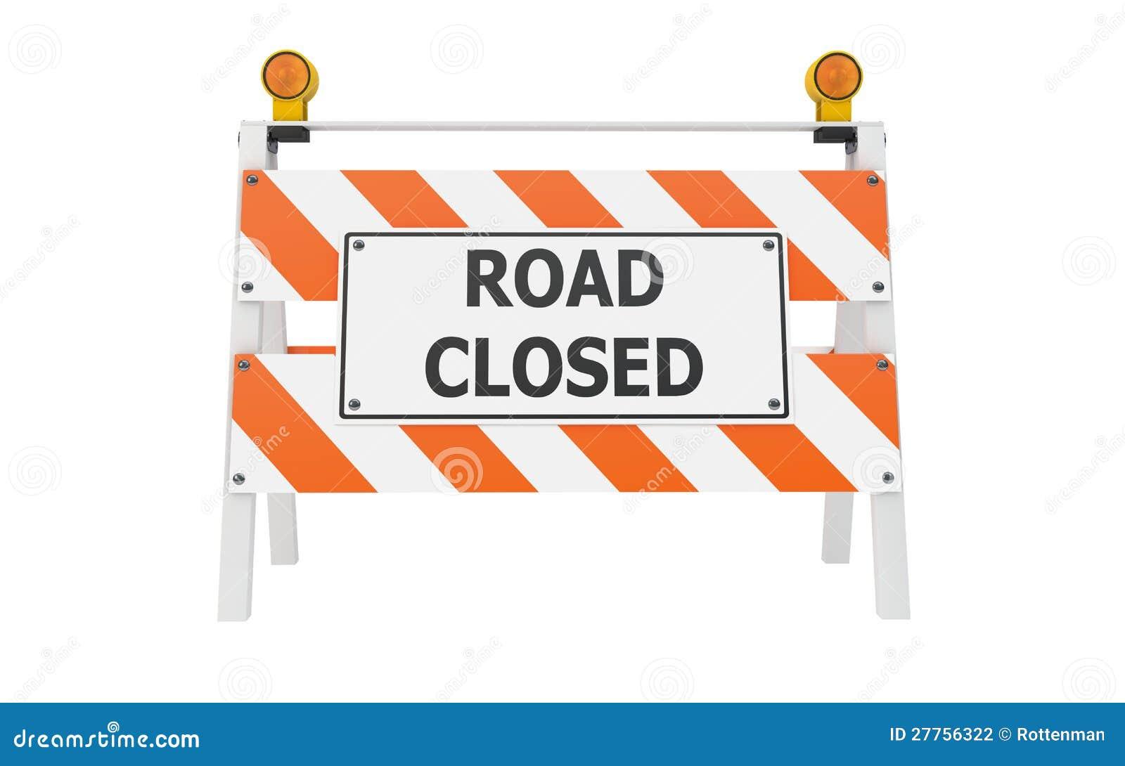Road closed barricade construction stock illustration