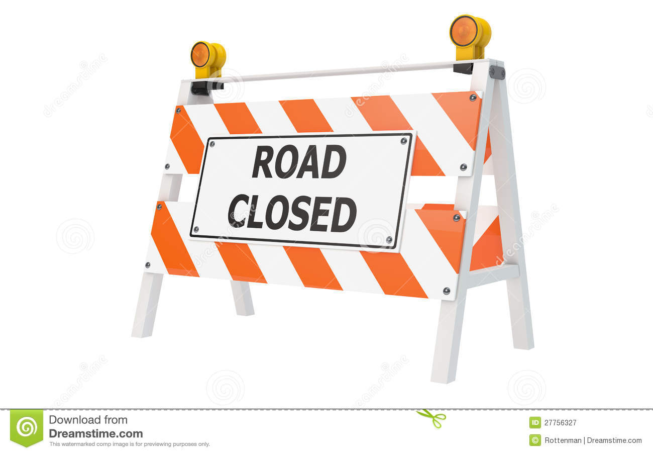 Road closed barricade construction stock illustration