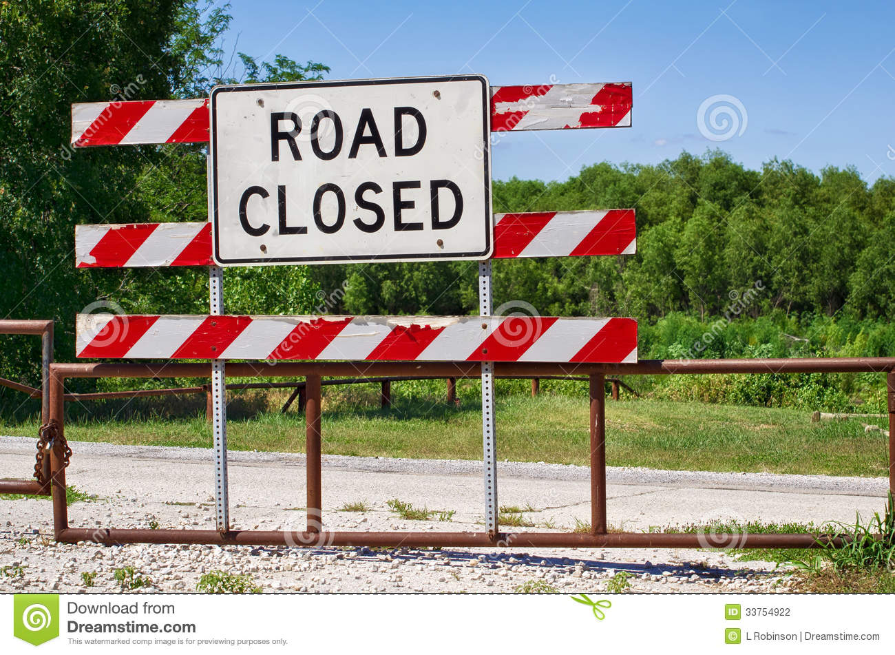 Road closed barrier stock photography image