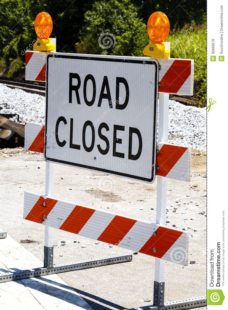 Road Closed Type Iii Barricade With Warning Lights Stock