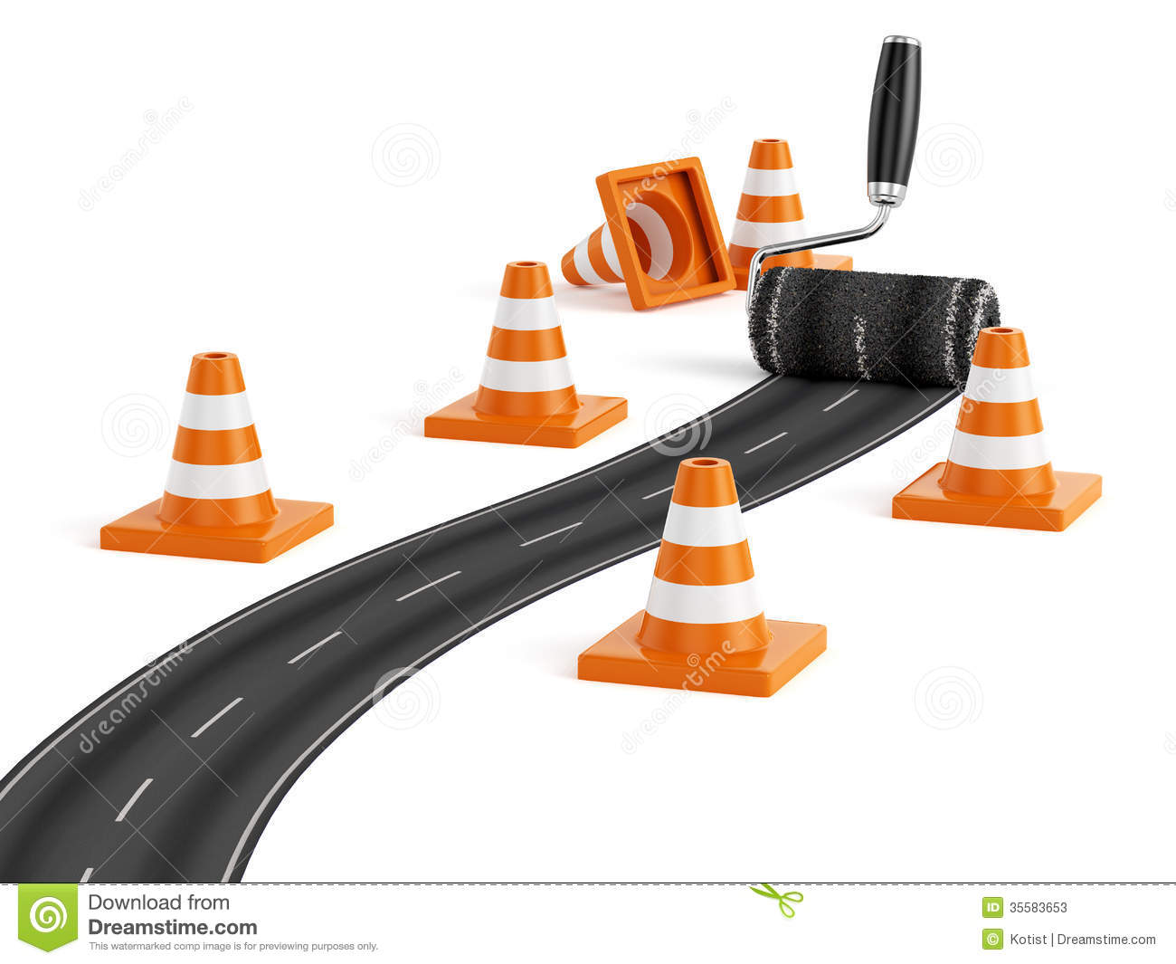 3d render of painting the road with roller brush. Road construction ...