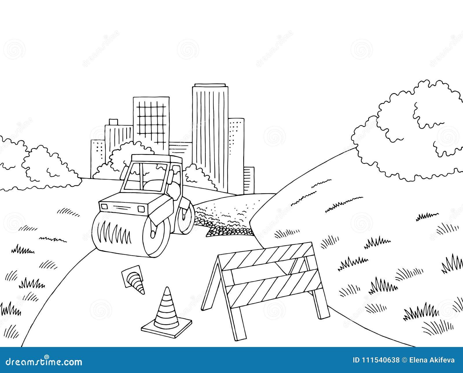 Road Construction Graphic Black White City Landscape Sketch Illustration Vector Stock Vector Illustration Of Contour Outdoors 111540638