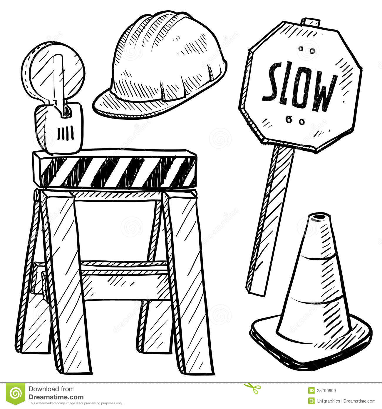 Road Construction Objects Vector Stock Vector