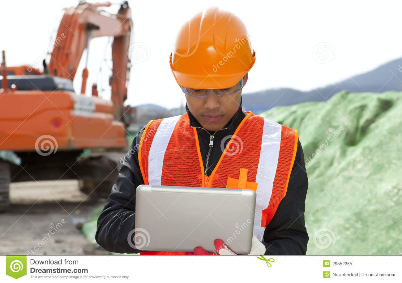 Road Construction Worker Using Laptop Royalty Free Stock ...