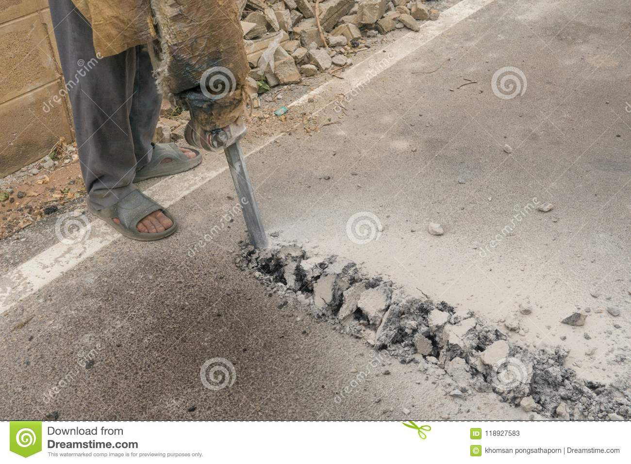 Road Construction Workers Were Drilling With Haste  Because Of The