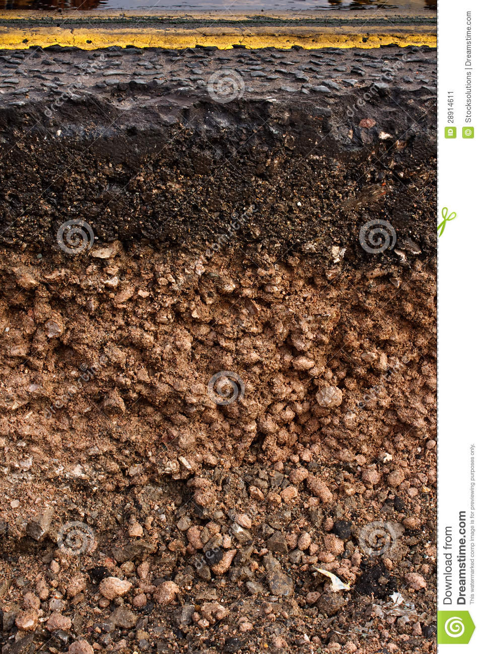 Road cross section showing soil underneath stock image for Utility of soil