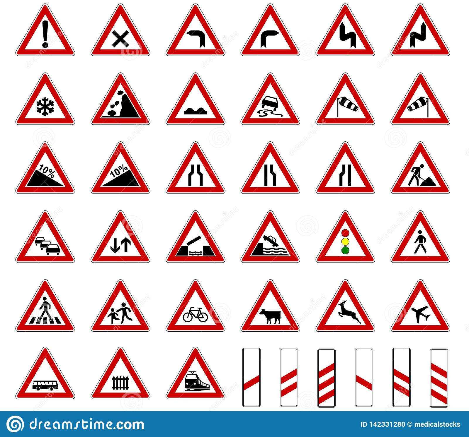Road europe traffic sign collection vector isolated on white background