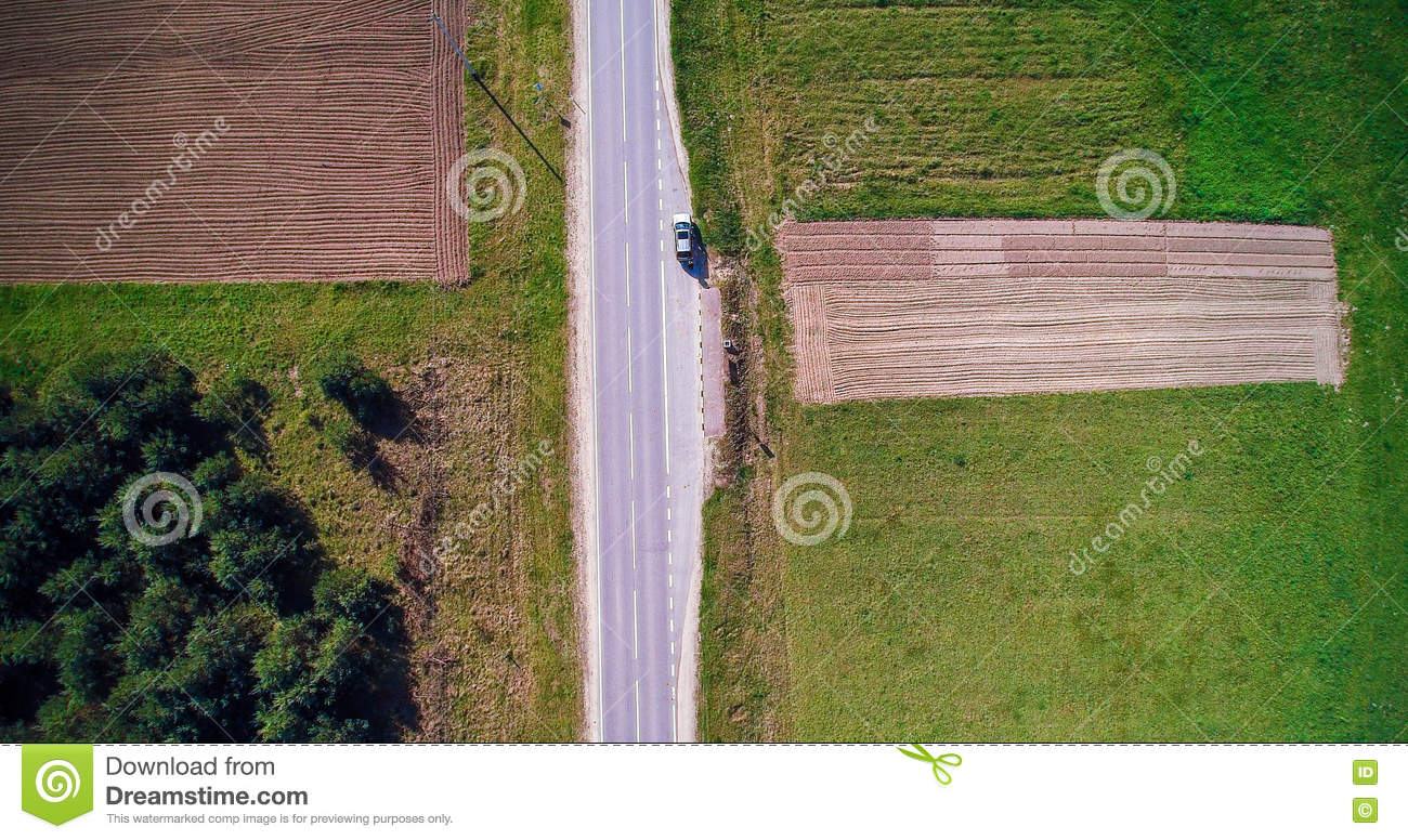 Road and field top view with car