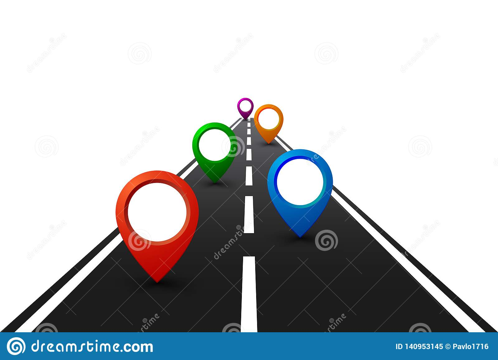 Road with GPS navigation. Car road, street, highway roadmap infographics – for stock
