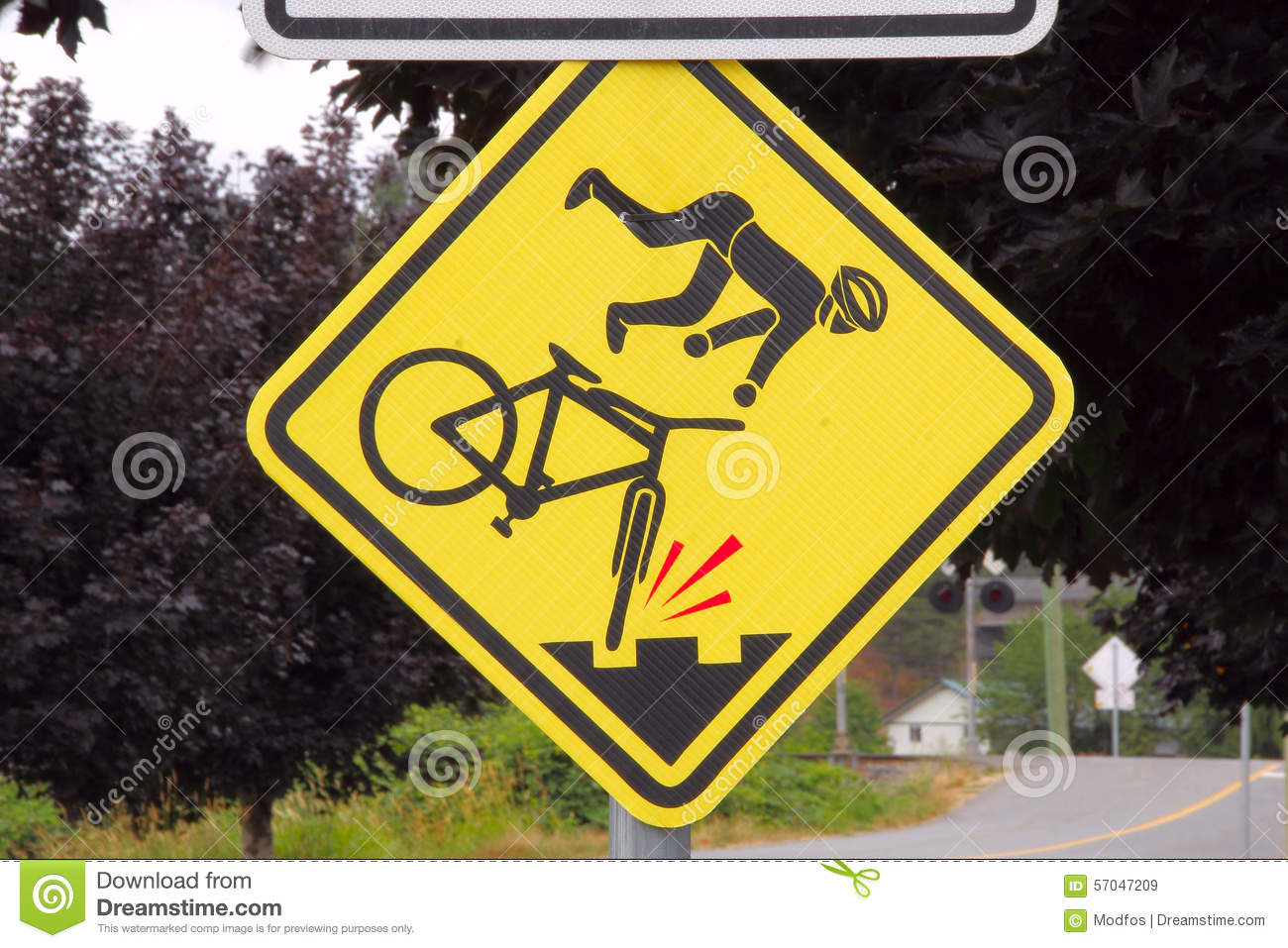 Road Hazard Sign For Bicycles Stock Image - Image of ...