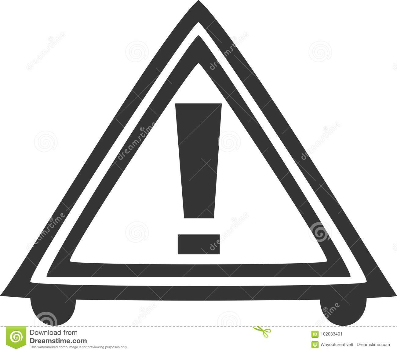 Road Hazard Triangle Caution Warning Sign Stock Vector