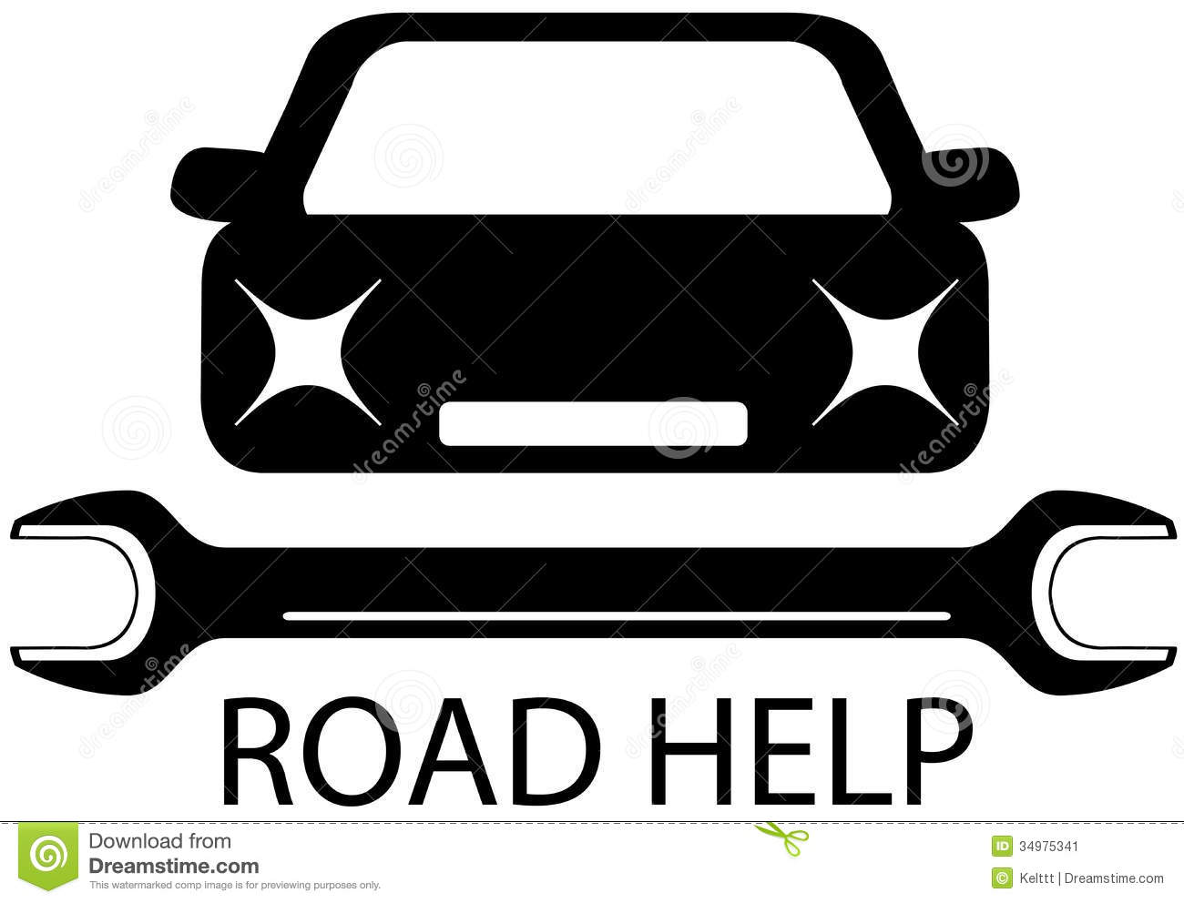 road help sign with black car and tools for repair stock vector