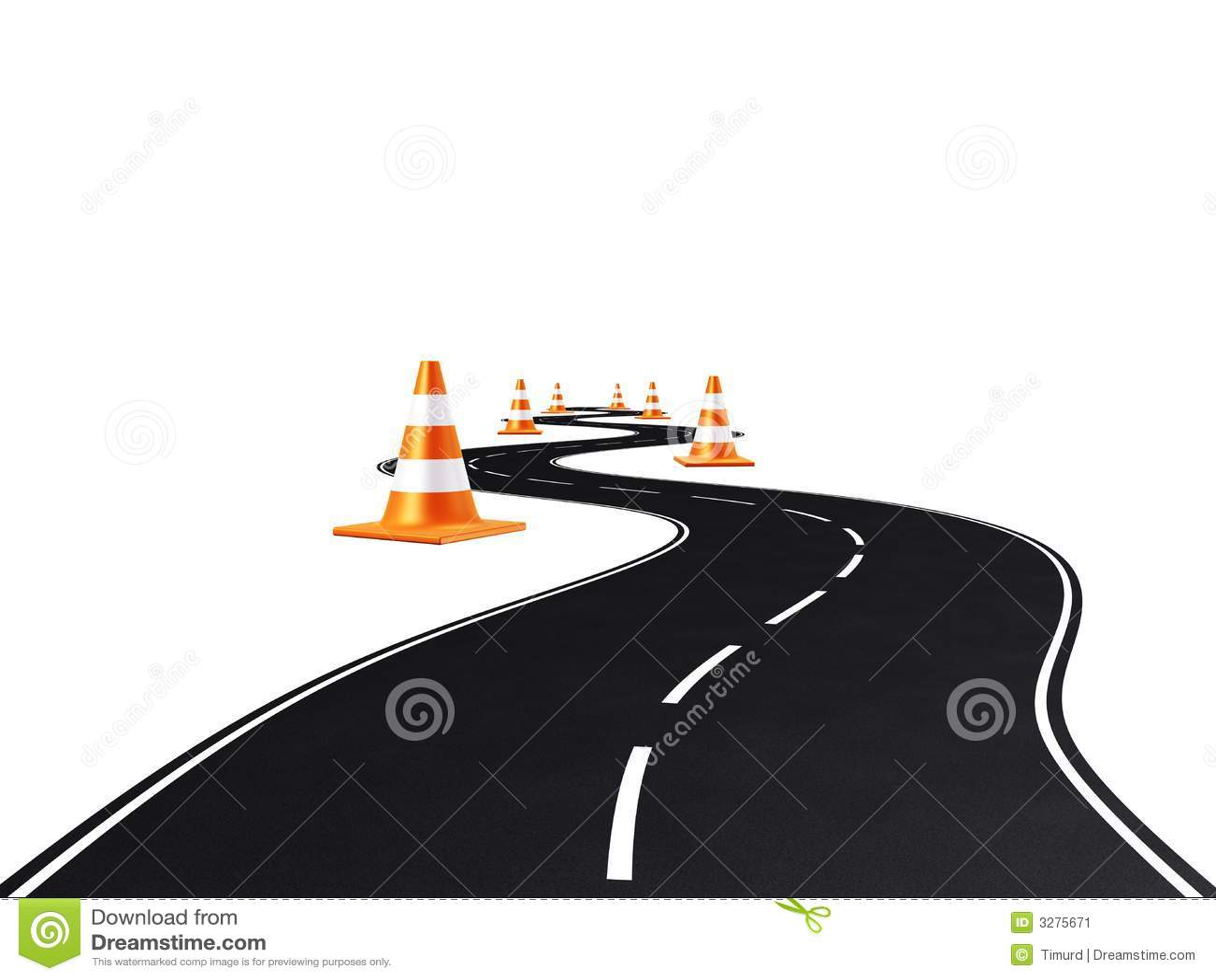 Road, highway, traffic cones