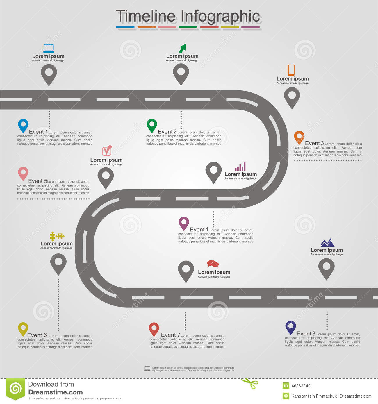 Road Infographic Timeline Element Layout. Vector Stock ...