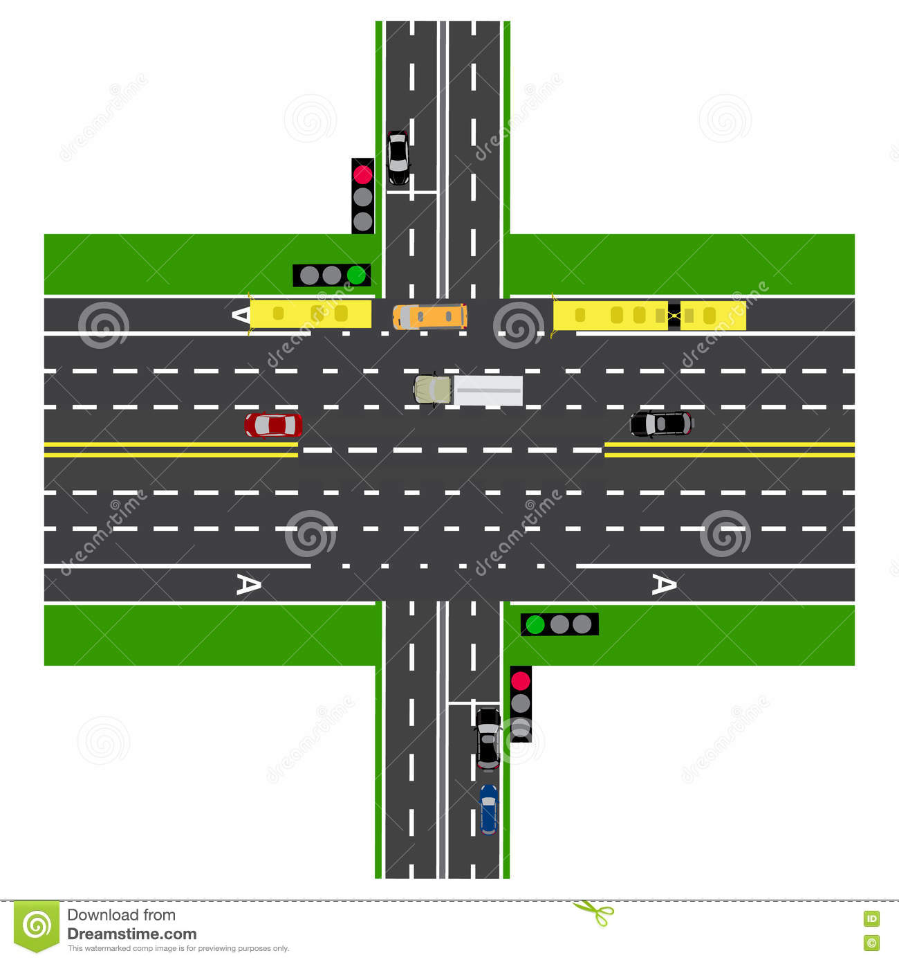 Road Infographics. Large Highway Intersection With The Road. With ...