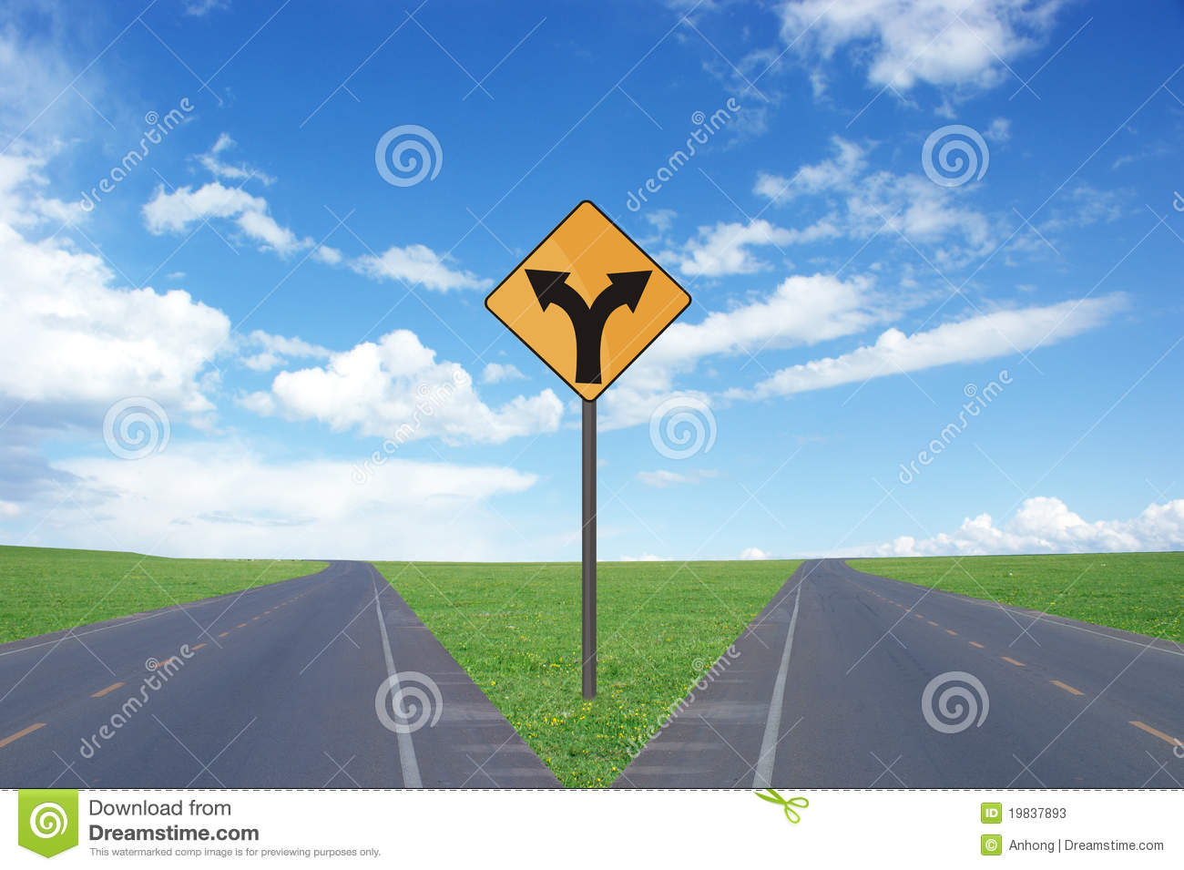 Road intersection and signs
